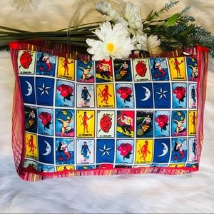 Red lotería tote bag